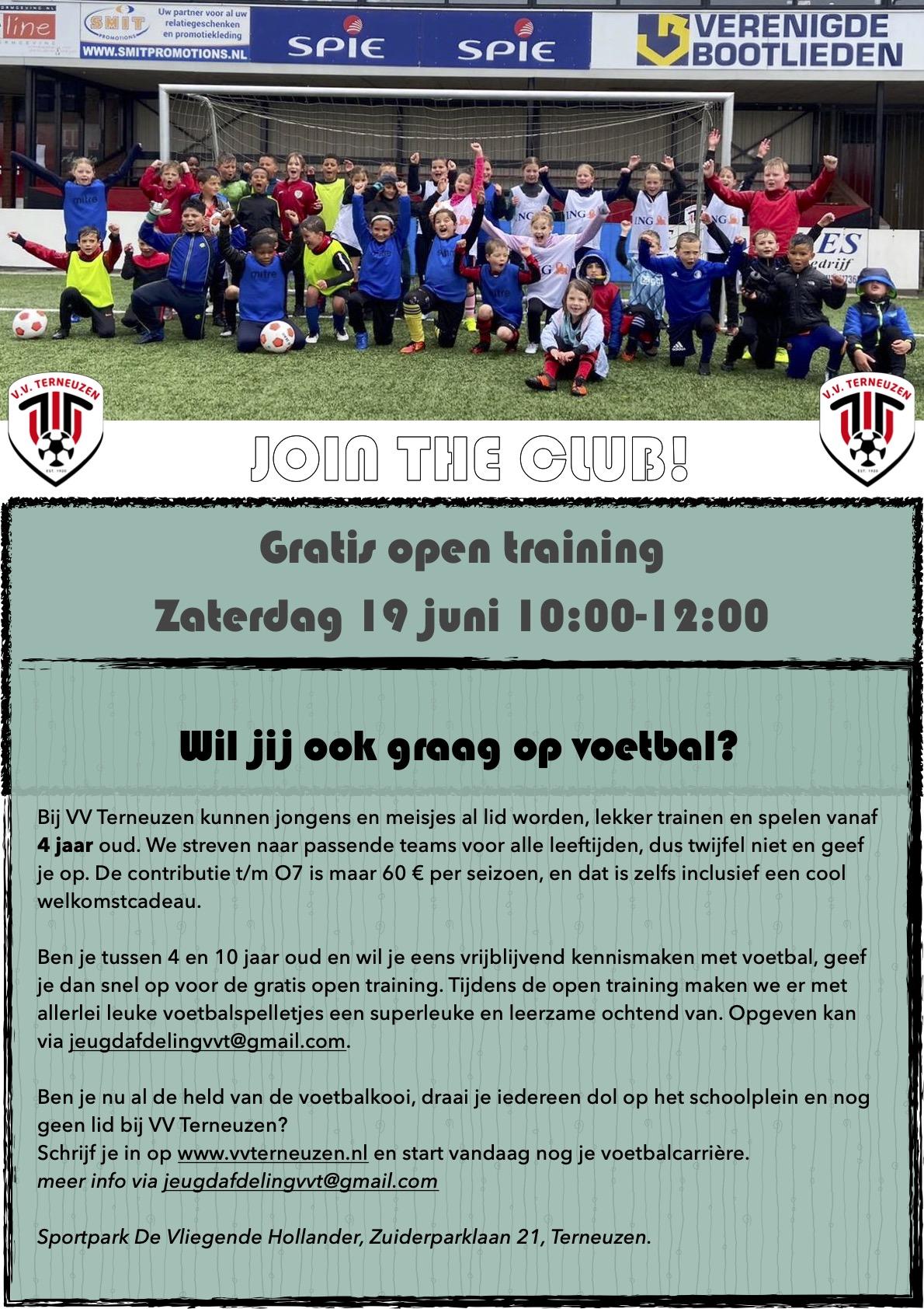 Gratis Open Training Zaterdag 19 Juni 10:00-12:00