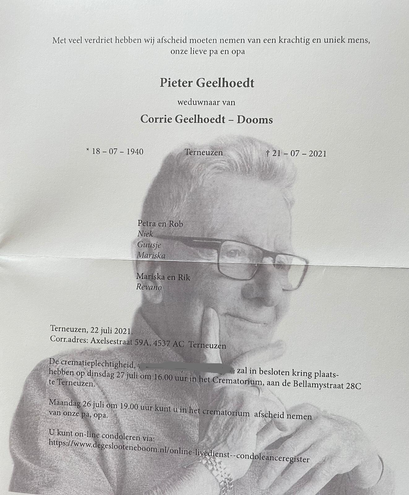 Overlijdensbericht Pieter Geelhoedt